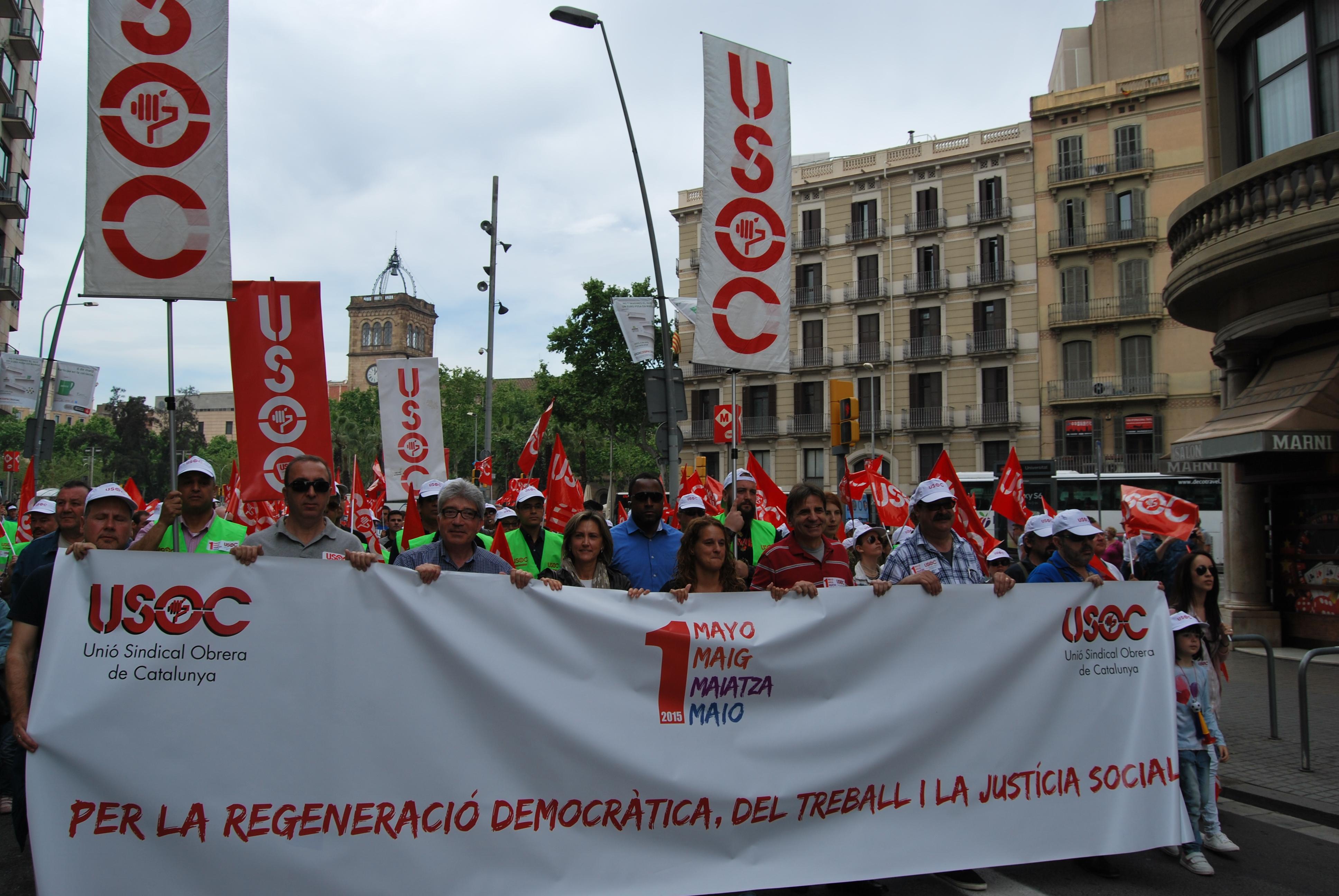 Capçalera manifestació 1er. de Maig de 2015