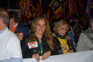 Capçalera manifestació 19N. Secretària General Maria Recuero