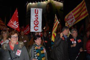 Foto de manifestants del 19N. En la foto el Secretari General de la Federació d'Ensenyament d'USOC (FEUSOC)