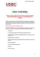 USOC T'INFORMA Treballadores i Treballadors especialment sensibles