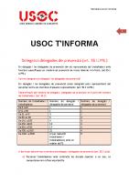 USOC T'INFORMA DELEGATS/DELEGADES