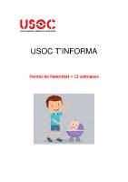 USOC t'Informa: Paternitat 12 setmanes