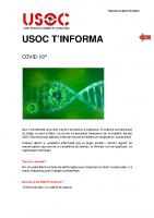 USOC T'Informa, Coronavirus