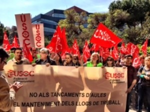 Imatge de la pancarta de la concentració