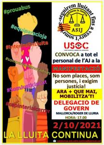 Manifestació 2/10/2021 en defensa dels drets dels treballadors públics temporals de l'administració pública